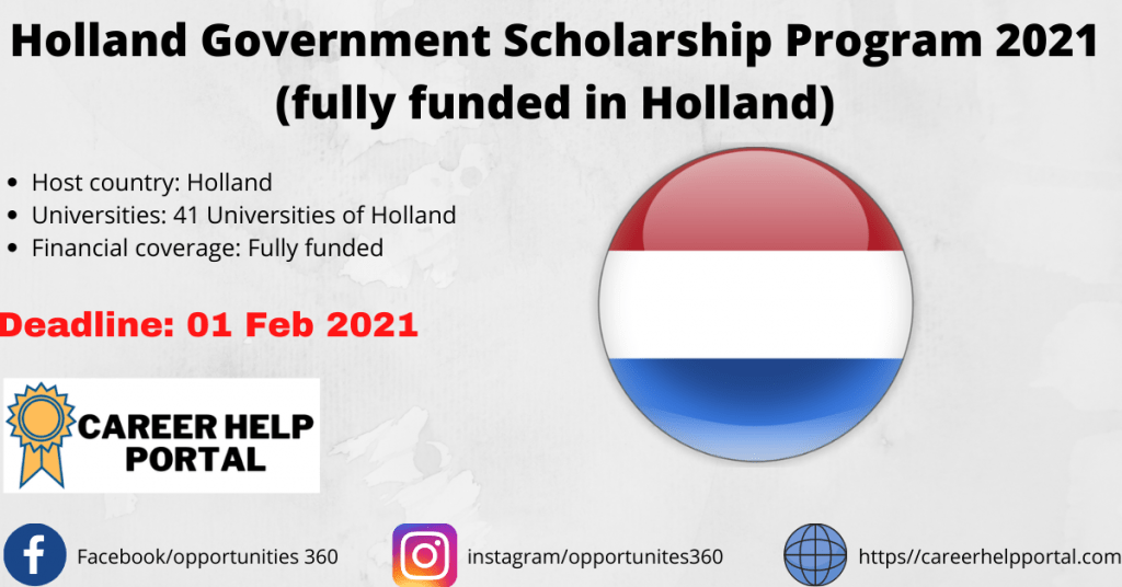 Holland Government Scholarship Program 2021 (fully funded in Holland)