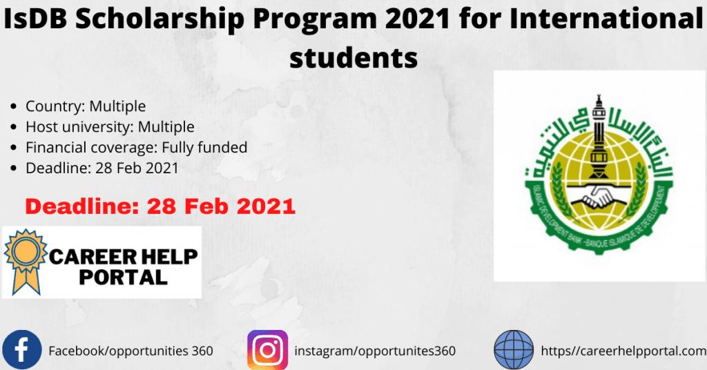 Fully Funded IsDB Scholarship program 2021