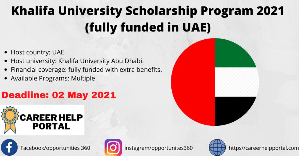 Khalifa University Scholarship Program 2021 (fully funded in UAE)