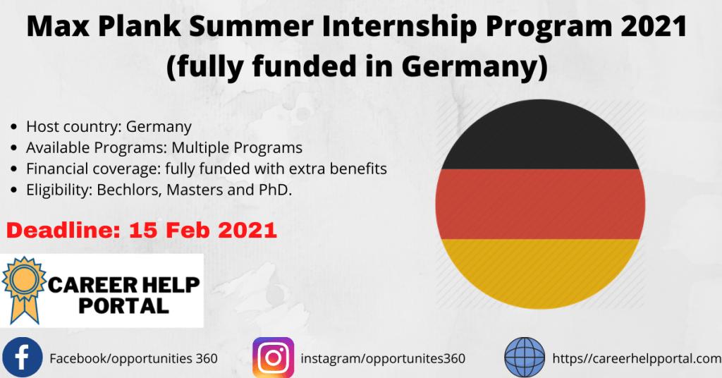 Max Plank Summer Internship Program 2021 (fully funded in Germany)