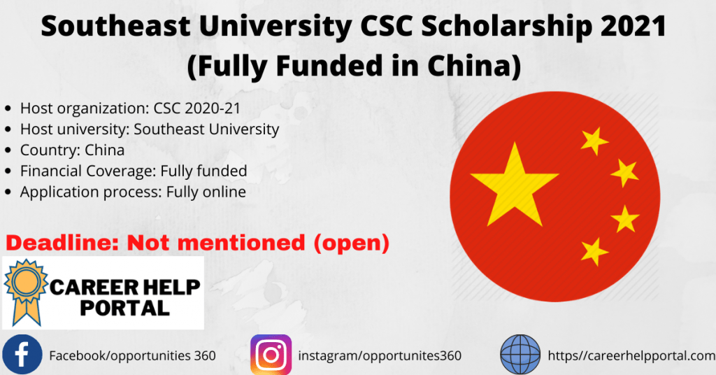 Southeast University CSC Scholarship 2021 (Fully Funded in China)