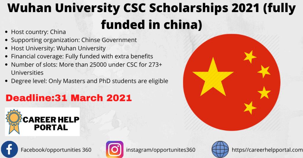 Wuhan University CSC Scholarships 2021 fully funded
