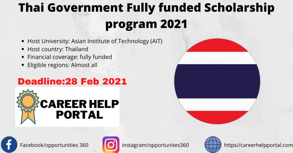Thai Government Fully funded Scholarship program 2021