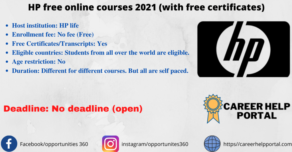 HP free online courses 2021 (with free certificates)