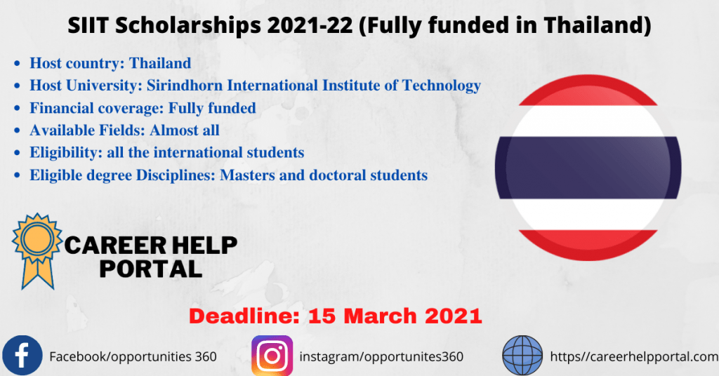 SIIT Scholarships 2021-22 (Fully funded in Thailand)