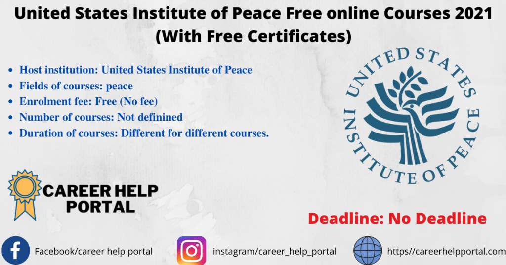 United States Institute of Peace Free online Courses 2021 (With Free Certificates)
