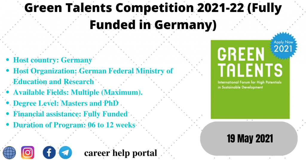 Green Talents Competition 2021-22 (Fully Funded in Germany)