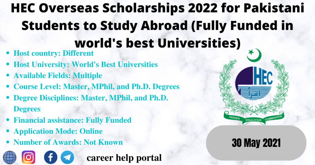 HEC Overseas Scholarships 2022 for Pakistani Students to Study Abroad (Fully Funded in world's best Universities)