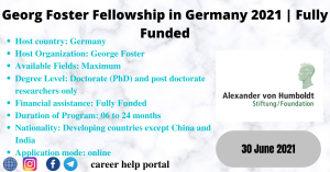 Georg Foster Fellowship in Germany 2021 | Fully Funded