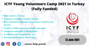 ICYF Young Volunteers Camp 2021 in Turkey (Fully Funded)