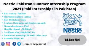 Nestle Pakistan Summer Internship Program 2021 (Paid Internships in Pakistan)