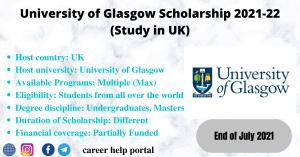 University of Glasgow Scholarship 2021-22 (Study in UK)