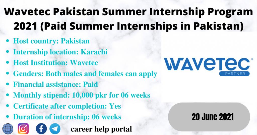 Wavetec Pakistan Summer Internship Program 2021 (Paid Summer Internships in Pakistan)
