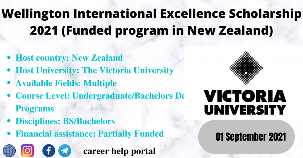 Wellington International Excellence Scholarship 2021 (Funded program in New Zealand)