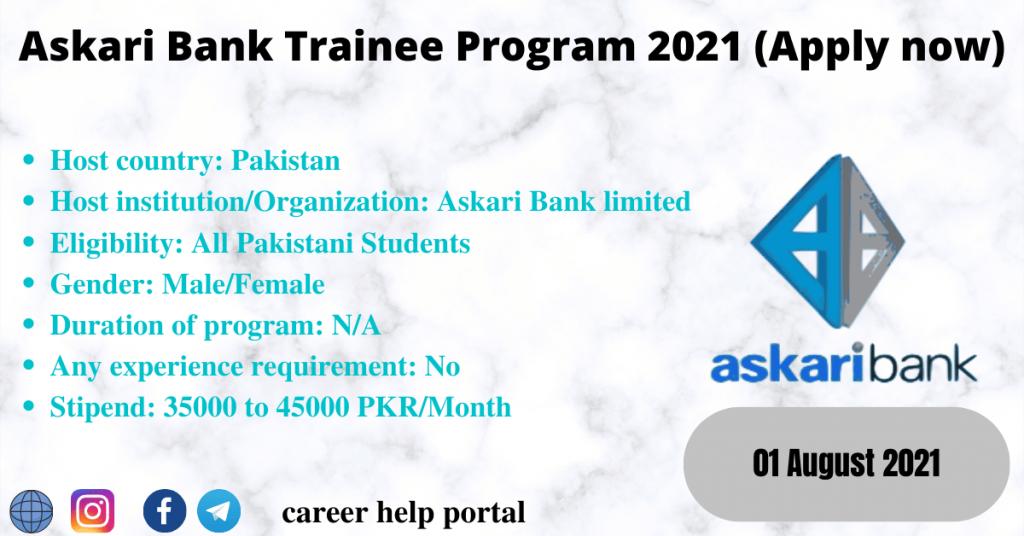 Askari Bank Trainee Program 2021 (Apply now)
