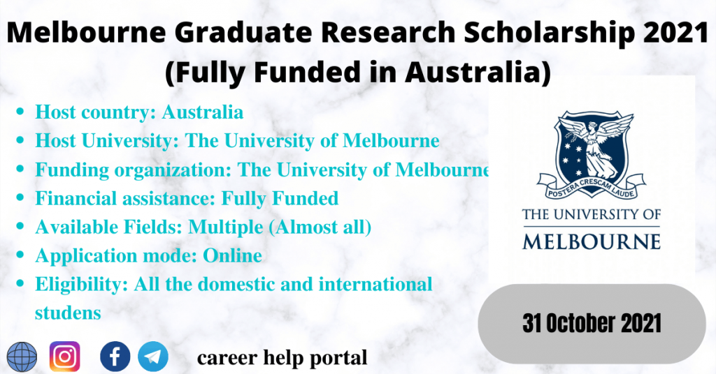 Melbourne Graduate Research Scholarship 2021 (Fully Funded in Australia)