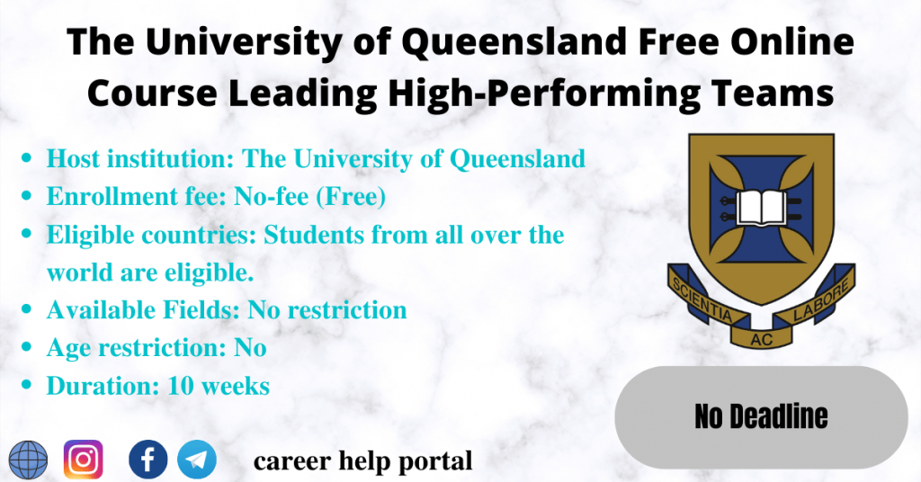The University of Queensland Free Online Course Leading High-Performing Teams