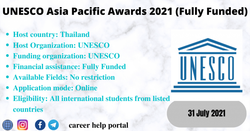 UNESCO Asia Pacific Awards 2021 (Fully Funded)
