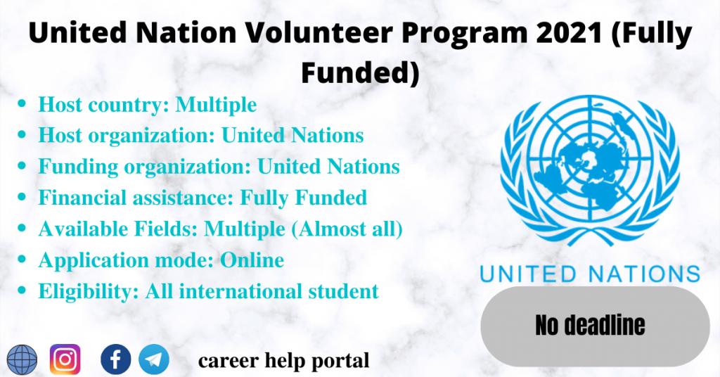 United Nation Volunteer Program 2021 (Fully Funded)