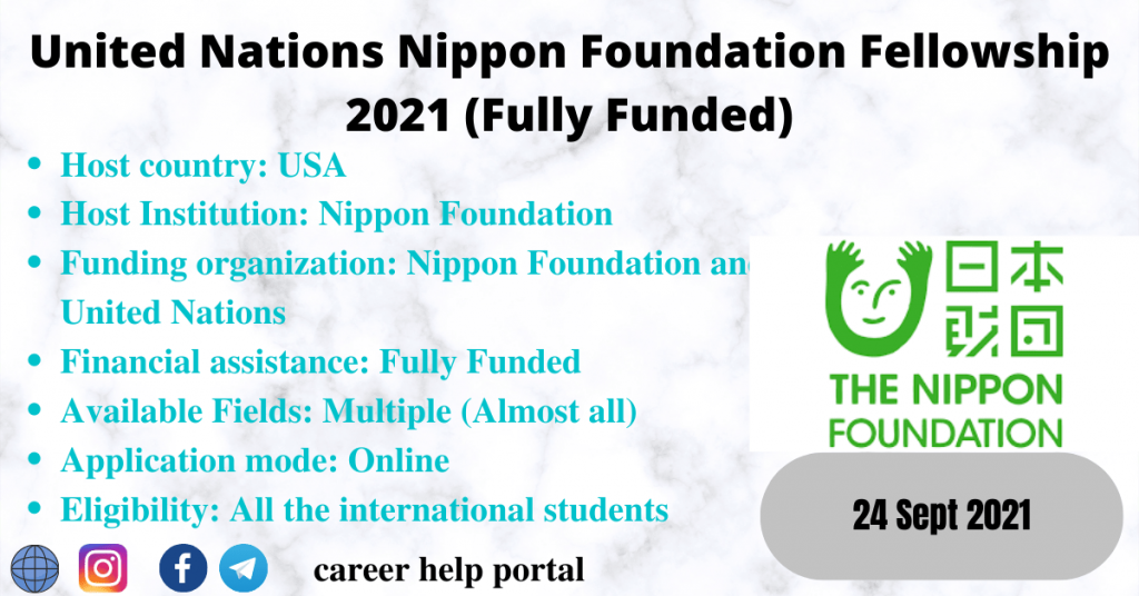 United Nations Nippon Foundation Fellowship 2021 (Fully Funded)