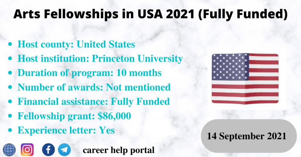Arts Fellowships in USA 2021 (Fully Funded)