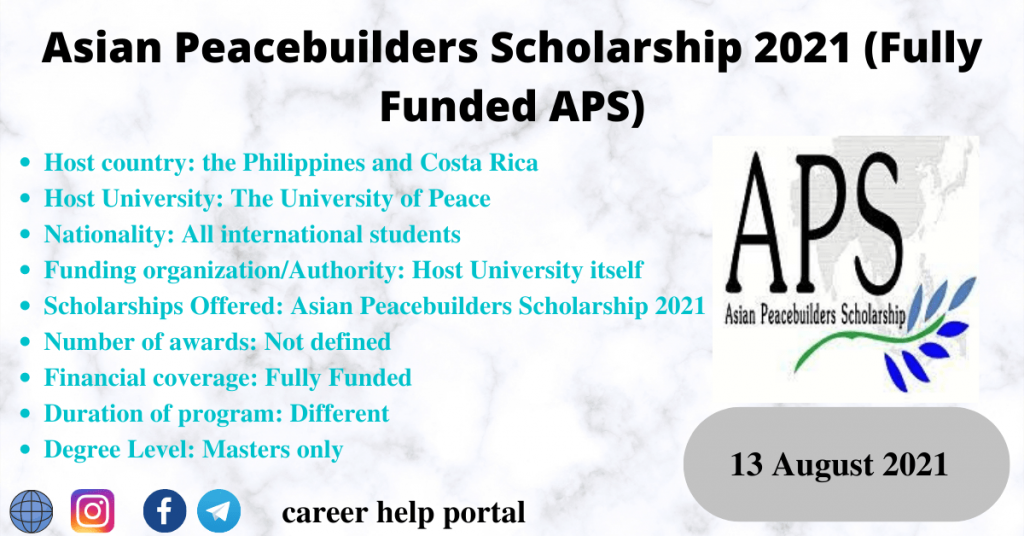 Asian Peacebuilders Scholarship 2021 (Fully Funded APS)