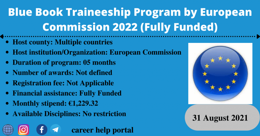 Blue Book Traineeship Program by European Commission 2022 (Fully Funded)