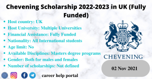Chevening Scholarship 2022-2023 in UK (Fully Funded)