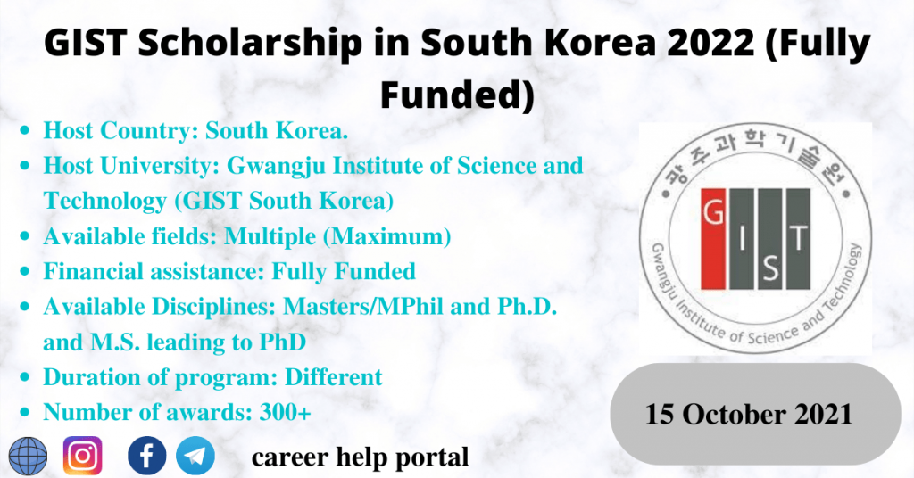 GIST Scholarship in South Korea 2022 (Fully Funded)