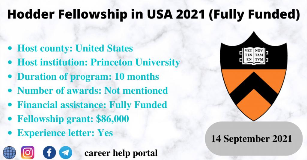 Hodder Fellowship in USA 2021 (Fully Funded)