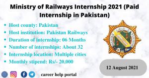Ministry of Railways Internship 2021 (Paid Internship in Pakistan)