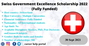 Swiss Government Excellence Scholarship 2022 (Fully Funded)