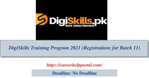DigiSkills Training Program 2021 (Registrations for Batch 11)